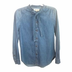 Madewell • Tie Neck Chambray Button Down Sz Small